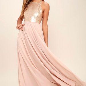Matte gold sequin dress
